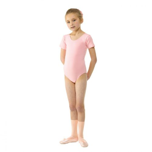 Tappers and Pointers Dance Short Sleeved Ballet Leotard Cotton Lycra Pale Pink.